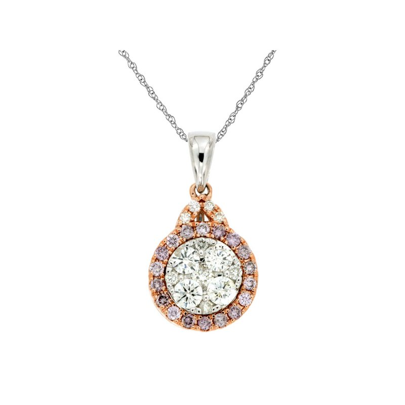 Murphy Pitard Signature Collection Diamond & Pink Diamond Halo Pendant Necklace