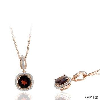 Garnet & Diamond Halo Drop Pendant Necklace