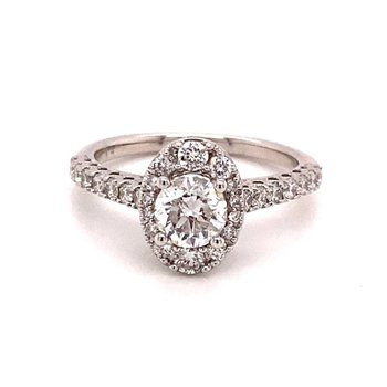 Round Diamond Oval 1 1/4 Carats Halo Engagement Ring