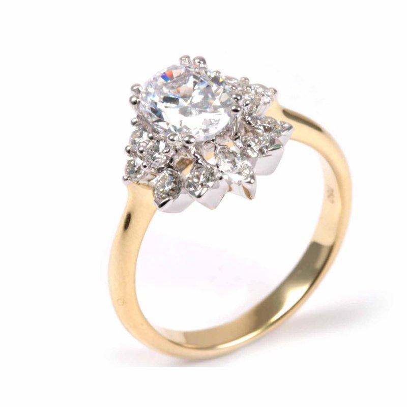 Diadori (Cheri Dori) Diamond Tiara Inspired Oval Engagement Ring