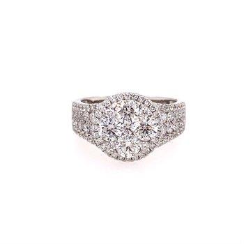 Round Diamond Cluster Top Multi Row Ring