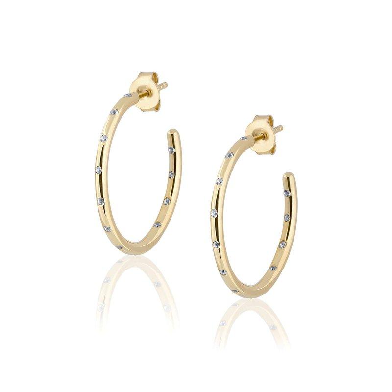 ela rae new york city White Zircon Hoop Earrings