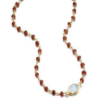 Libi Garnet and Moonstone Necklace