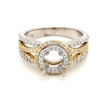 Two Tone Split Band Semi-Mount Engagement Ring