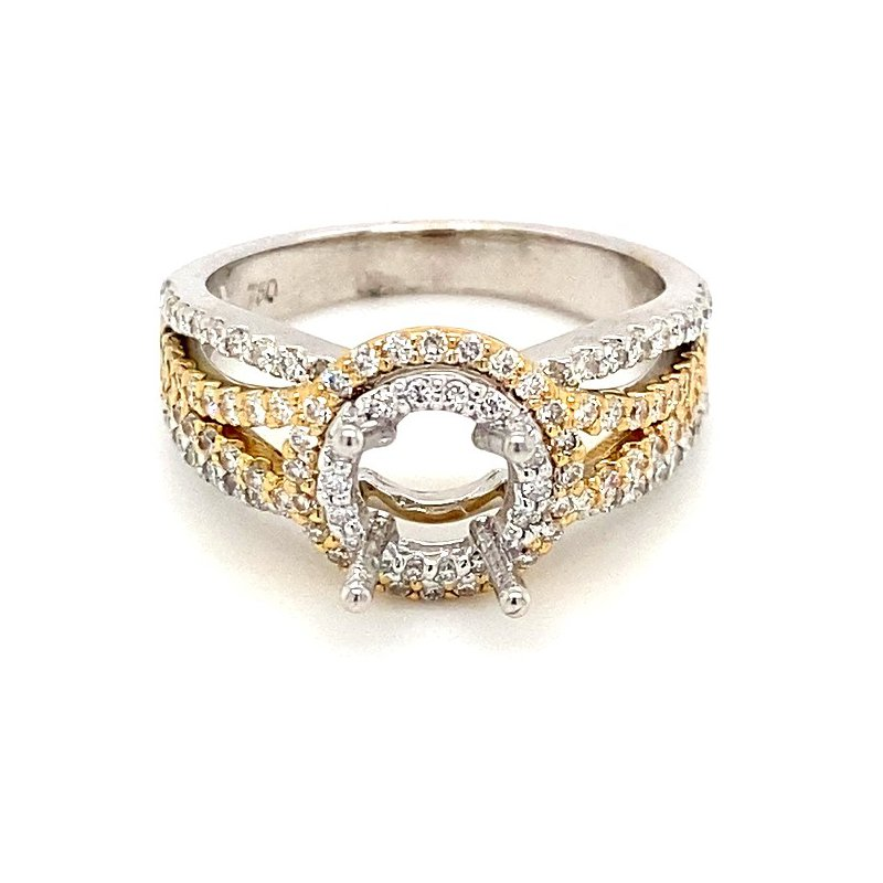 Murphy Pitard Signature Collection Two Tone Split Band Semi-Mount Engagement Ring