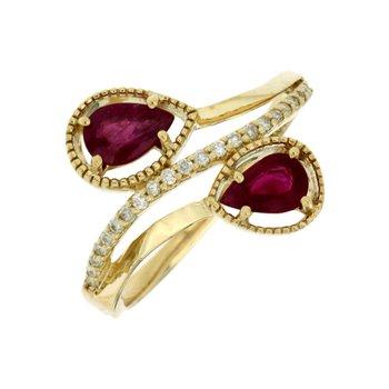 Ruby & Diamond Bypass Ring