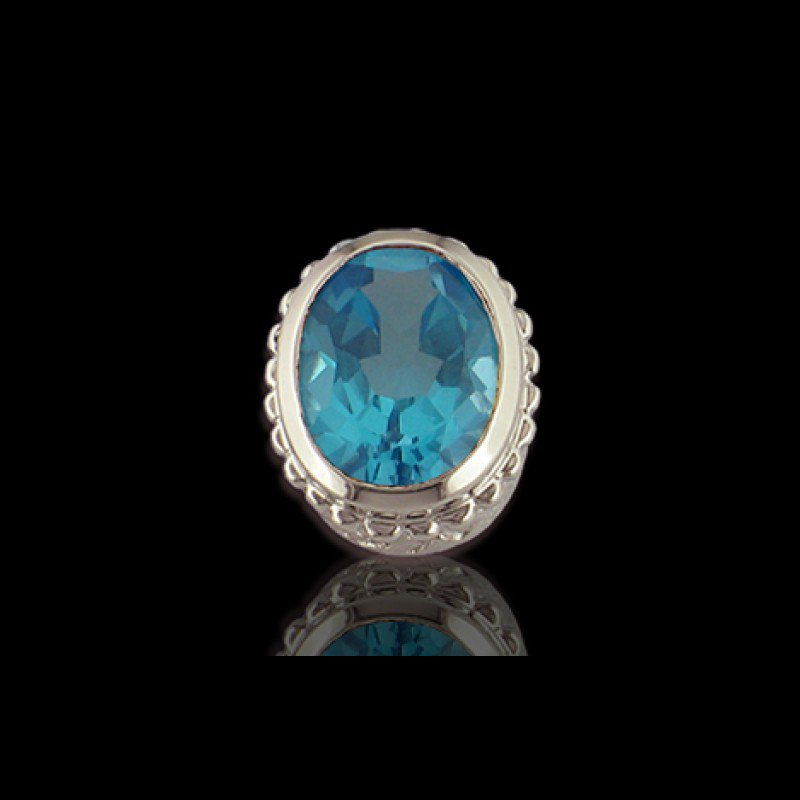 Goldman-Kolber Caerleon Oval Faceted Blue Topaz Insert Bezel