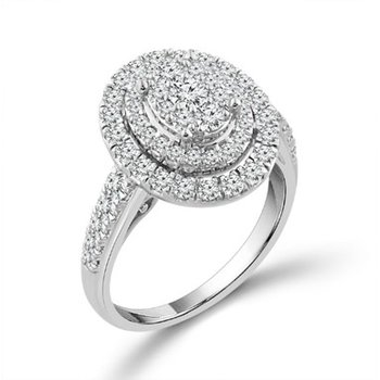 Diamond 1.0 Carats Double Oval Halo Engagement Ring