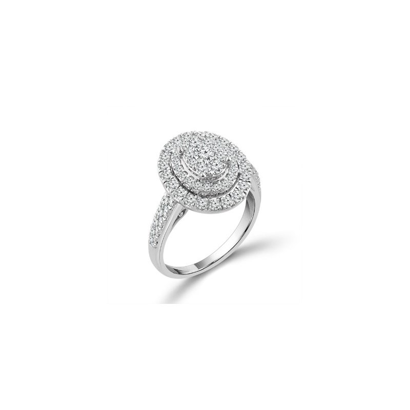 Murphy Pitard Signature Collection Diamond 1.0 Carats Double Oval Halo Engagement Ring