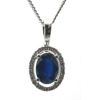 Blue Sapphire & Diamond Halo Pendant Necklace