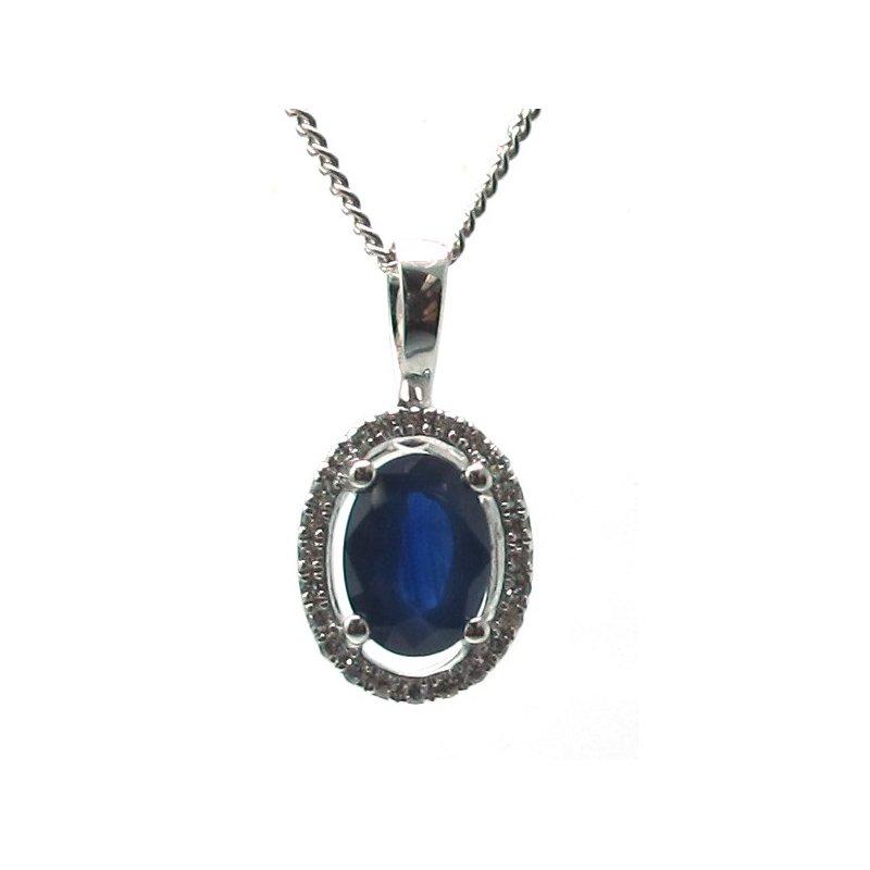 Murphy Pitard Signature Collection Blue Sapphire & Diamond Halo Pendant Necklace