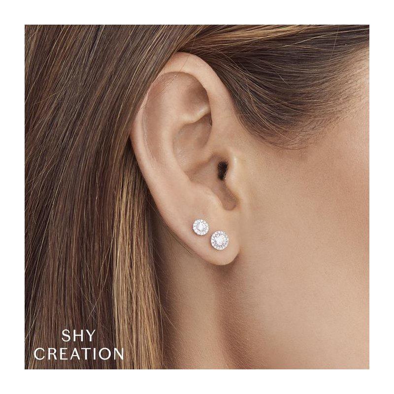 Shy Creation Diamond 1/4 Carats Halo Stud Earrings