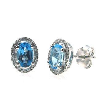 Swiss Blue Topaz & Diamond Halo Stud Earrings