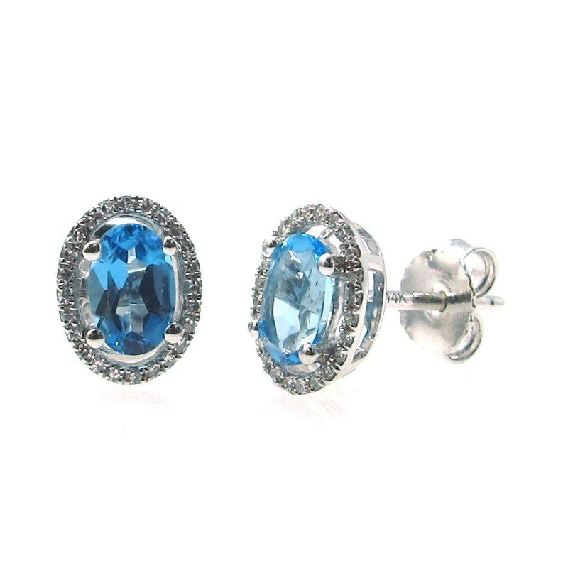 Murphy Pitard Signature Collection Swiss Blue Topaz & Diamond Halo Stud Earrings