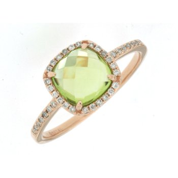 Peridot & Diamond Halo Ring