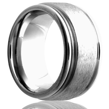 Cobalt Flat & Grooved Edge 8 Millimeter Band, Size 10.5