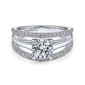Helima Round Diamond Split-Shank Diamond Engagement Ring