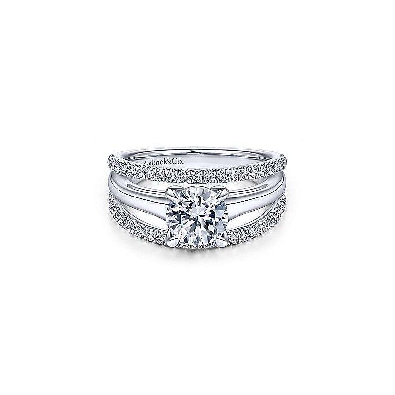 Gabriel & Co. New York Helima Round Diamond Split-Shank Diamond Engagement Ring