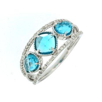 Diamond Accented Blue Topaz Fashion Band