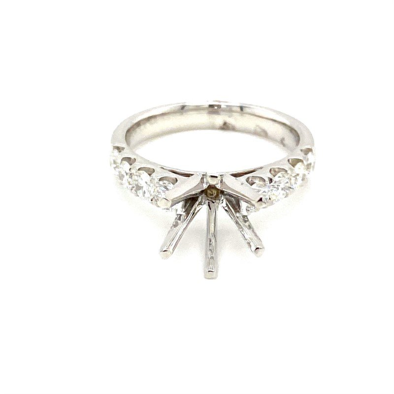 Murphy Pitard Signature Collection Diamond Side Stone Accented Round Engagement Ring
