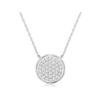 Diamond Round Pavé Disc Necklace