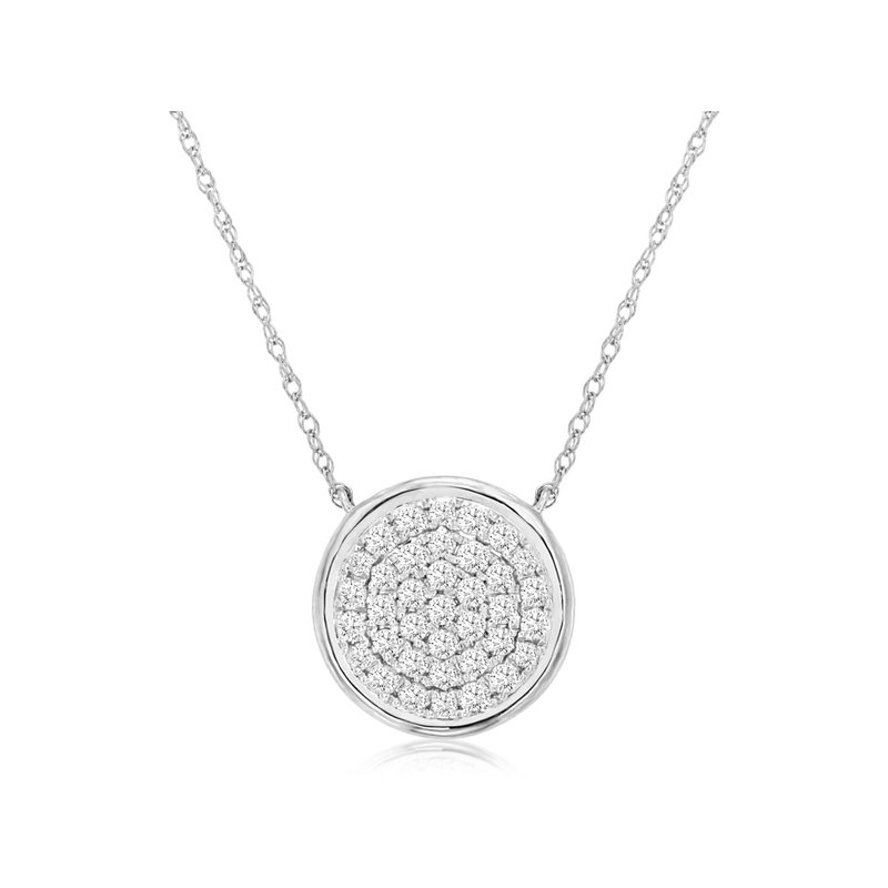 Murphy Pitard Signature Collection Diamond Round Pavé Disc Necklace