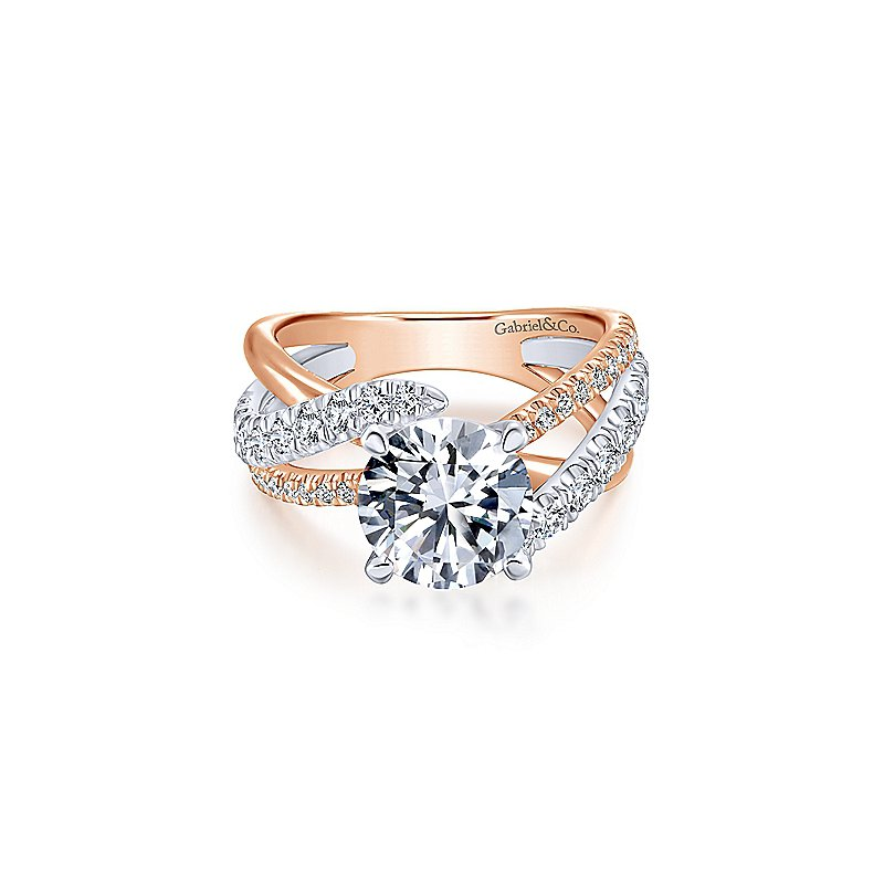 Gabriel & Co. New York Twist Band Two Tone Engagement Ring