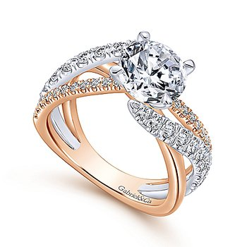 Twist Band Two Tone Engagement Ring