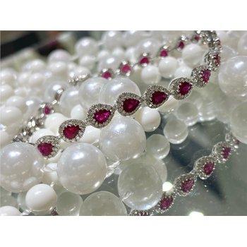 Pear Ruby & Diamond Halo Tennis Bracelet