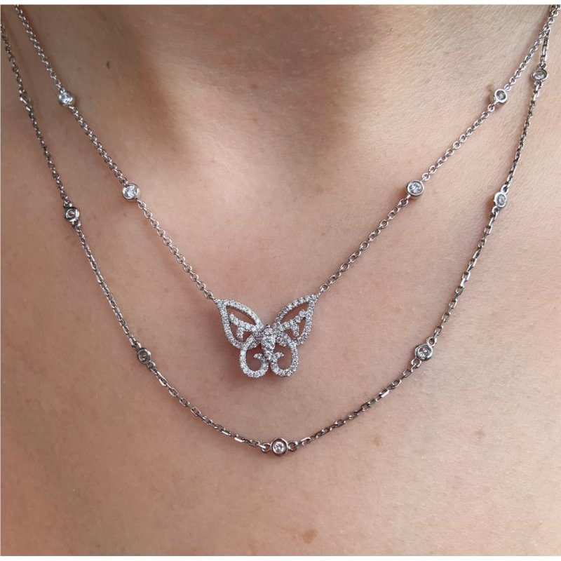 Murphy Pitard Signature Collection Diamond Butterfly Necklace