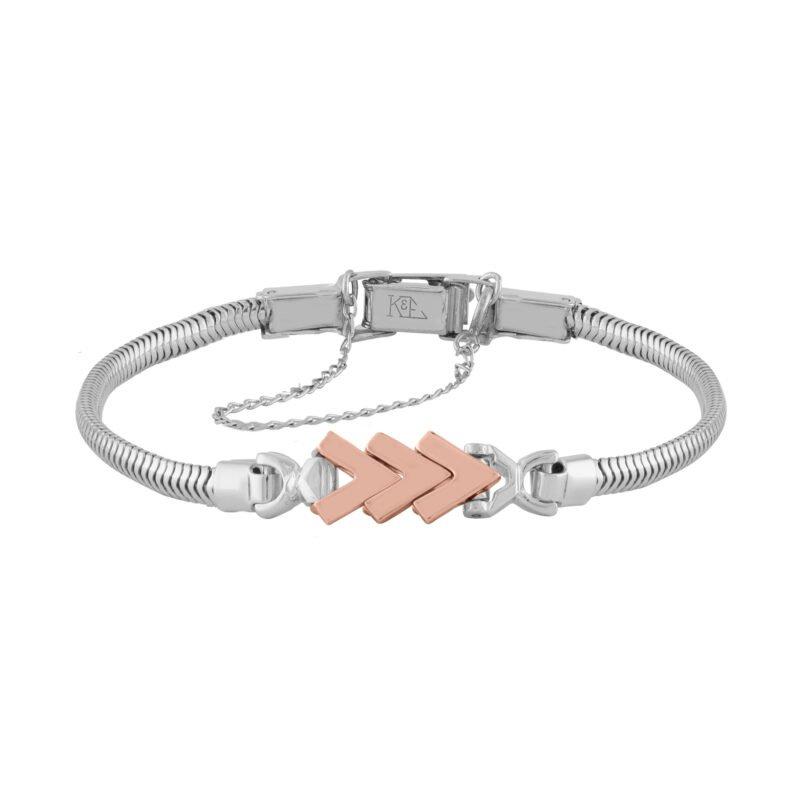 Kaspar and Esh Rose and White Gold Chevron Starter Tennis Bracelet