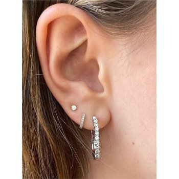 Diamond 1/3 Carats Small Inside Out Hoop Earrings