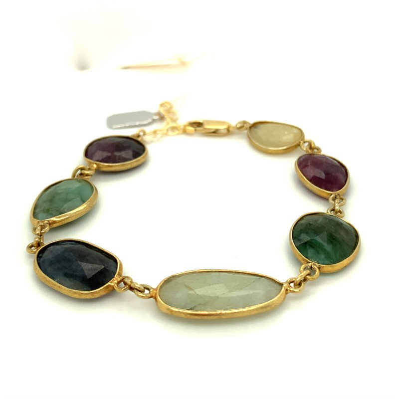 ela rae new york city Dayna Bezeled Multi-Colored Sapphire Bracelet