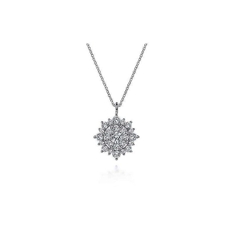 Gabriel & Co. New York Diamond Cluster Pendant Necklace