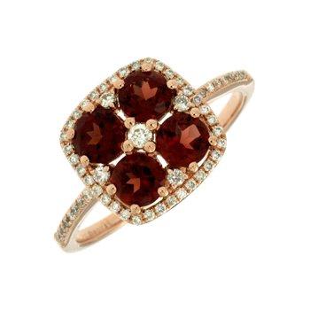 Diamond Accented Garnet Fashion Ring