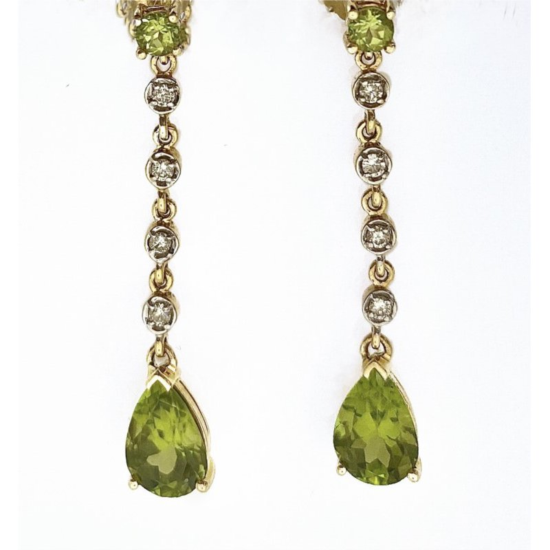 Murphy Pitard Signature Collection Diamond & Peridot Dangle Earrings