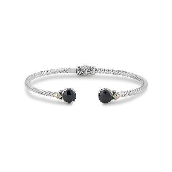 Black Spinel Twisted Bangle Bracelet