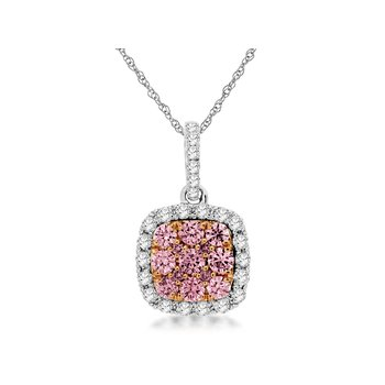 Diamond & Pink Diamond Halo Pendant Necklace