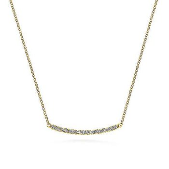 Diamond Pavé Curved Bar Necklace