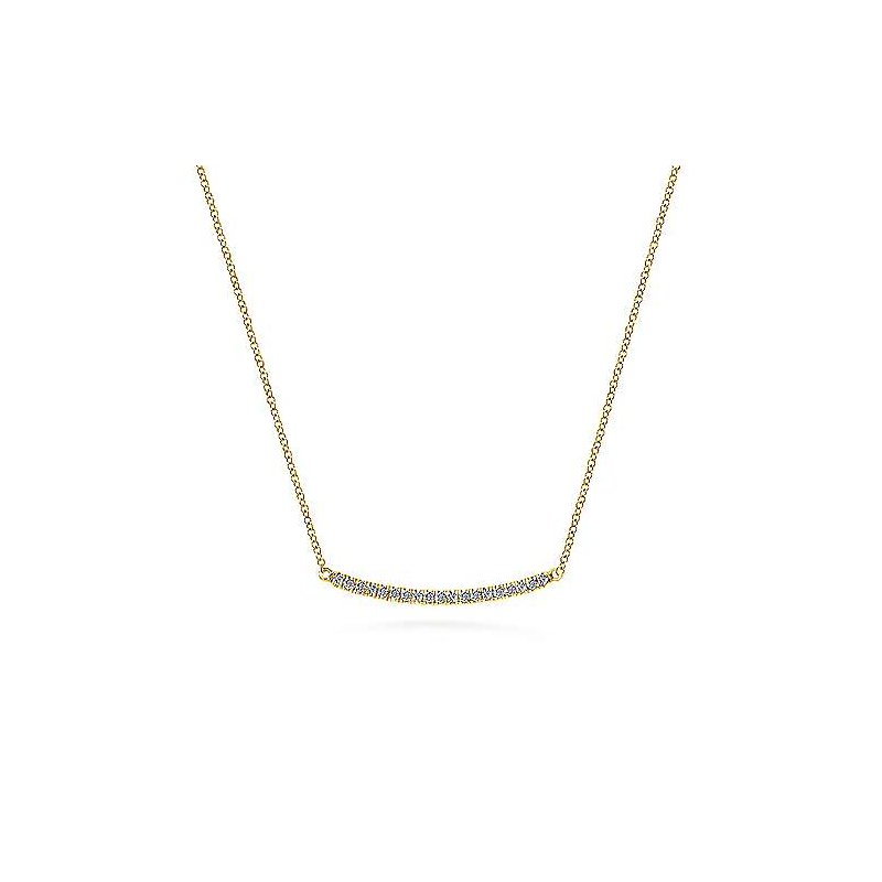 Gabriel & Co. New York Diamond Pavé Curved Bar Necklace