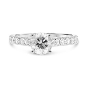 Diamond Accented Round Engagement Ring
