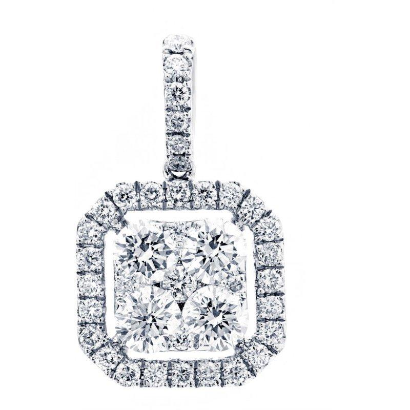Murphy Pitard Signature Collection White Gold Diamond Cushion Pendant