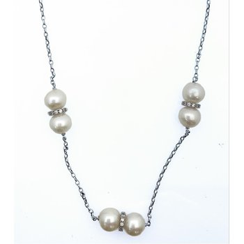 Freshwater Pearl Necklace with Rondells