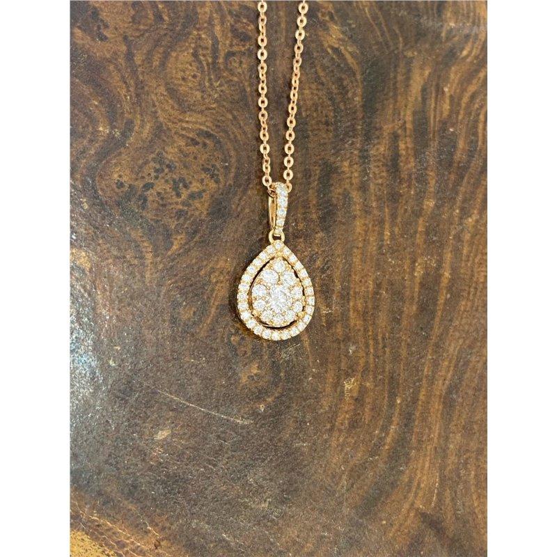Murphy Pitard Signature Collection Diamond Drop Pear Halo Pendant