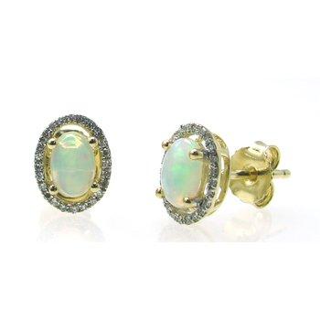 Opal & Diamond Halo Stud Earrings