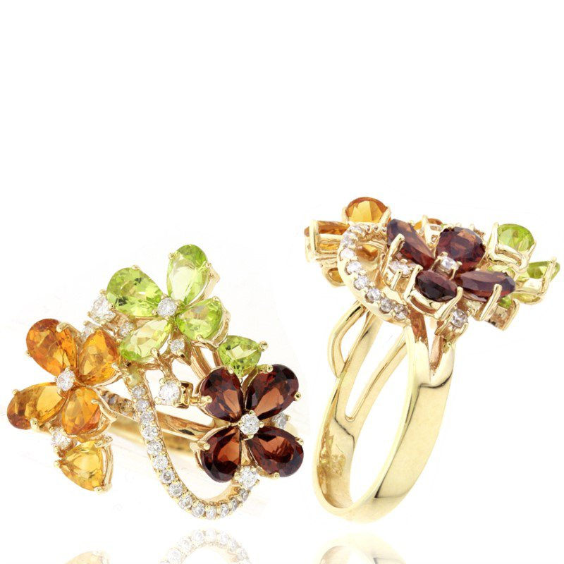 Murphy Pitard Signature Collection Flower Fashion Gemstone Garnet, Peridot & Citrine Ring With Diamond Accent