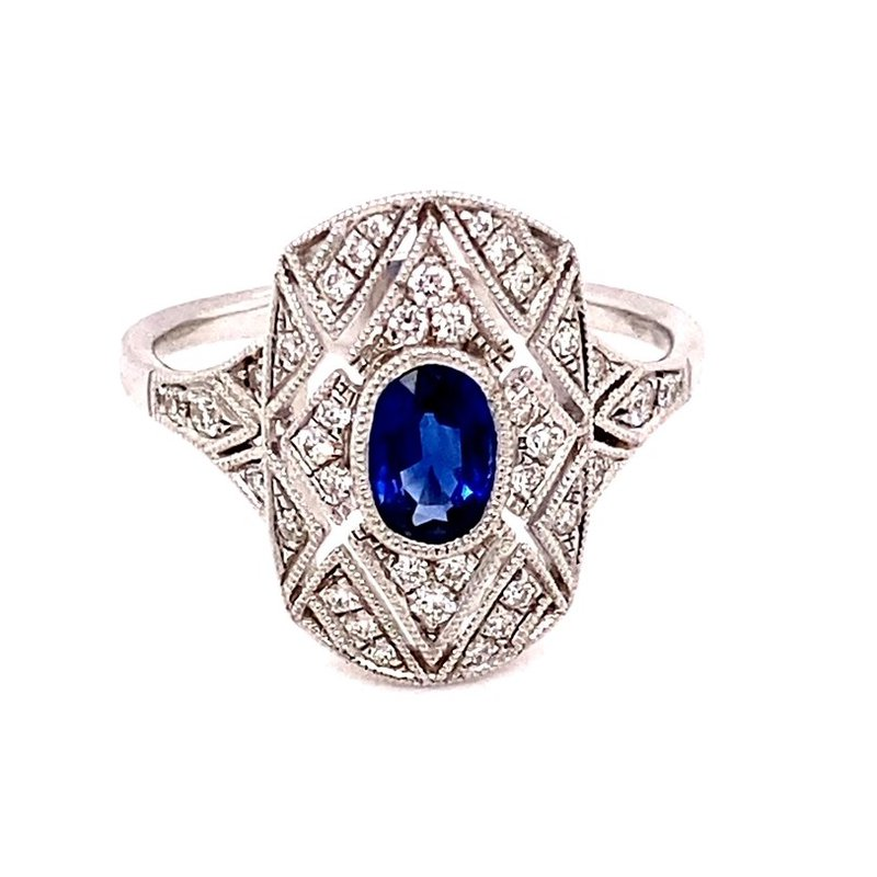 Murphy Pitard Signature Collection Vintage Inspired Sapphire and Diamond Ring