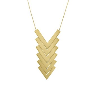 Gold Stack Chevron pendant Necklace