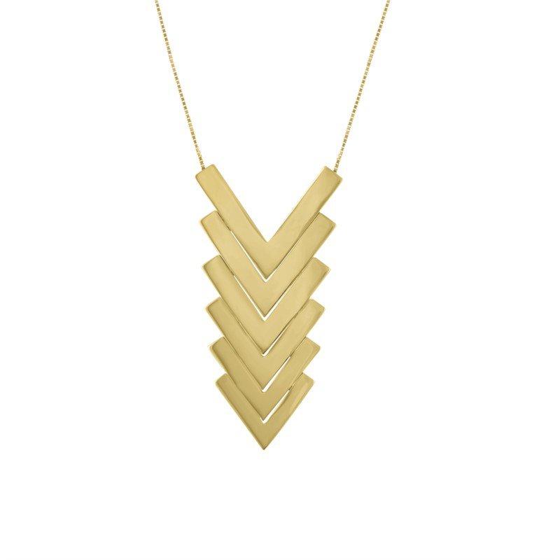 Kaspar and Esh Gold Stack Chevron pendant Necklace