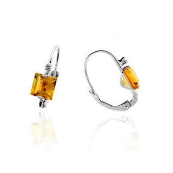 Diamond Accented Citrine Earrings